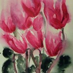 Watercolour painting. Cyclamen Dance (RWB0091) Artist: Vandy Massey