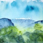 Watercolour painting. Verdant Peaks (RWB0092). Artist: Vandy Massey