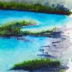 Watercolour painting. Ice Blue Water (RWB0099) Artist: Vandy Massey