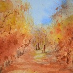 watercolour painting. SBA011 Walking the Dog. Artist: Sue Bradley