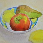watercolour painting. SBA012 Still Life Fruit Bowl. Artist: Sue Bradley